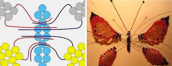 Создание бабочки из бисера в виде броши. Шаг 3