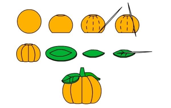 Схема создания тыквы из солёного теста