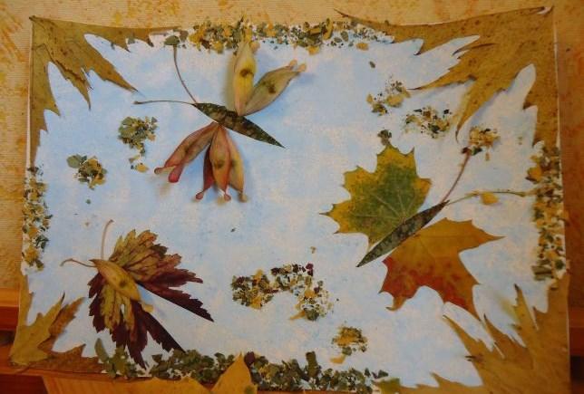 Картины из сухих листьев своими руками фото
