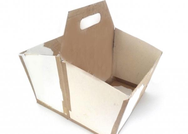 Мастер-класс по создания коробки из картона с двумя отделами. Шаг 1