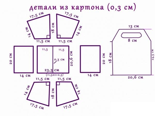 Схема - размеры деталей для картонного ящика