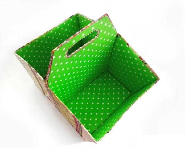Мастер-класс по создания коробки из картона с двумя отделами. Финальный результат