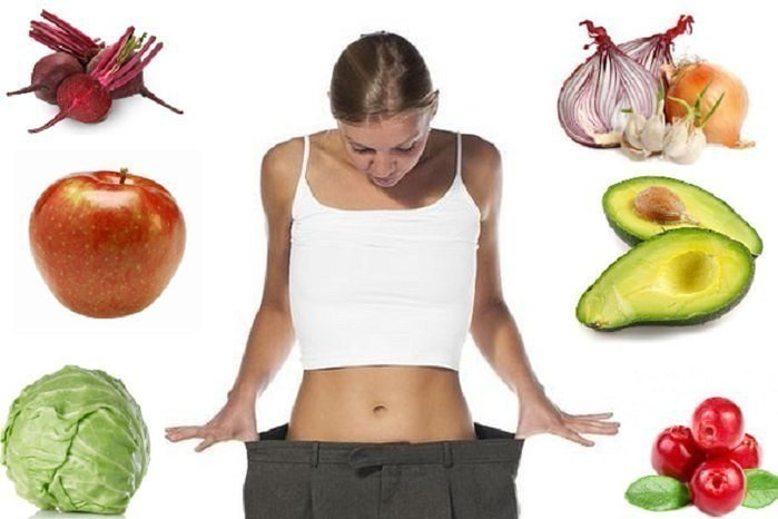 Девушка, овощи и фрукты