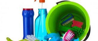 Ведро и моющие средства